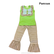 2017 Children Girls Tunic Top and Ruffled Legging Pants Boutique Kids Wear Suit