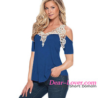 Blue Crochet Detail fashion ladies cutting low cut sexy blouses