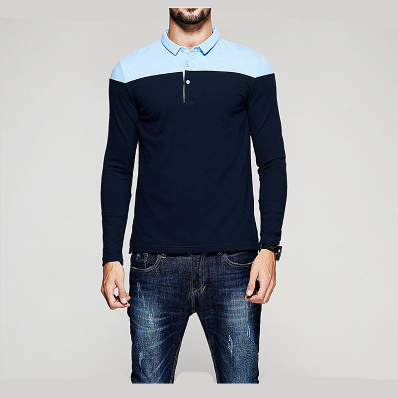 Europe Size New Brand Men's Solid Long Sleeve Polo Shirt Autumn Full Sleeve Warm Shirt Casual Printing Tops Jeans Blue