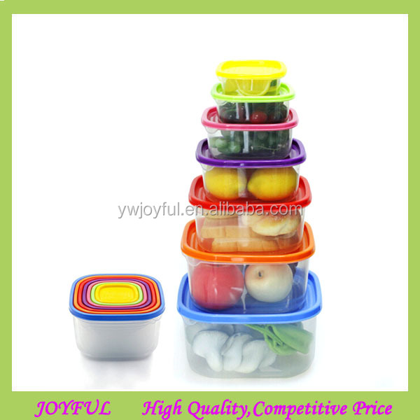 Kitchen Stackable plastic 7 Pieces Container Kit Multicolor Food Storage Containers