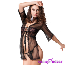 Wholesale Low MOQ Black Sexy Open Front Elbow Sleeve Lady Lace Sheer Lingerie