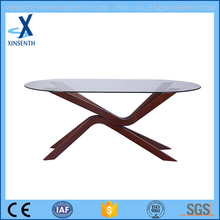 oval glass dining table with beech leg