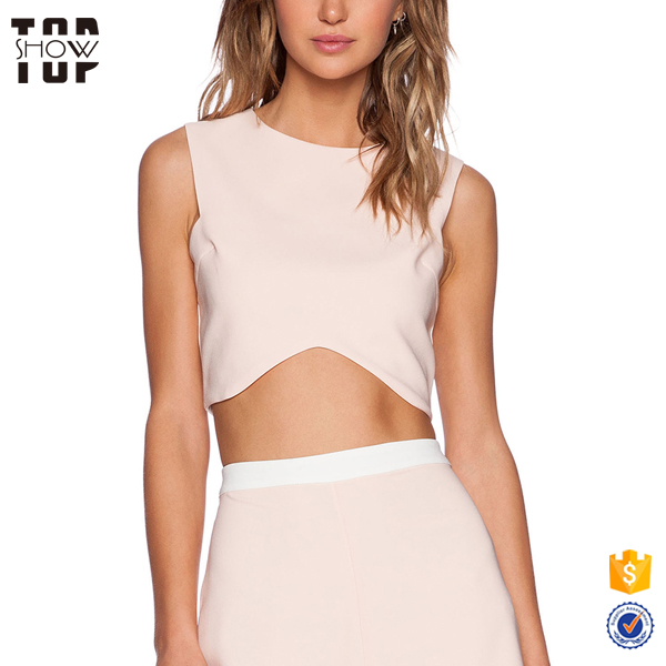 Wholesale newest designs two-tone sleeveless ladies crop top plain