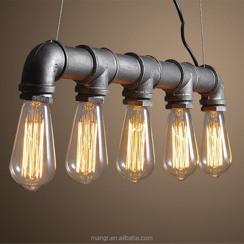 Pendant-Light-MG-1088 Scandinavian Industrial Wire Iron Pendant Lamp Steampunk Water Pipe Hanging Lamp