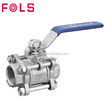 Sanitary 3 piece lever handle ball valve full port