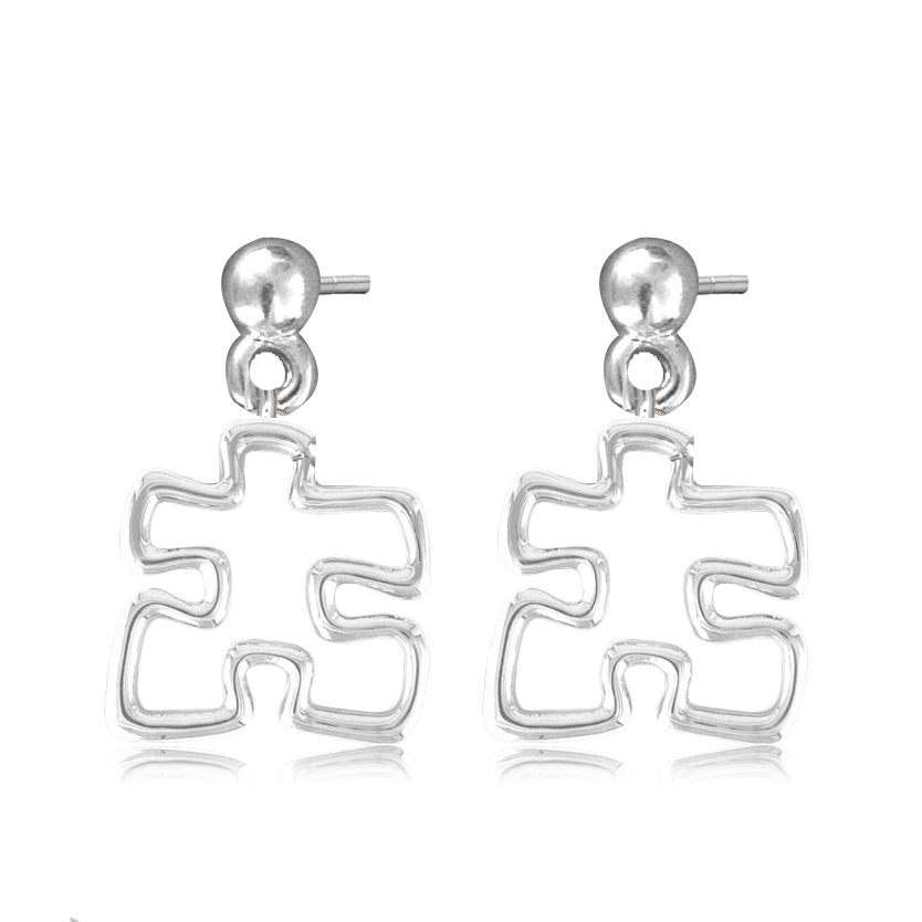 Alibaba Top Selling Silver Hollow Out Puzzle Piece Charm Hook Style Earring For Girls