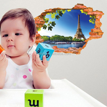 3D window effect The Eiffel Tower Household adornment Wall Sticker