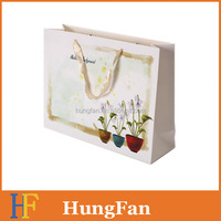 Coated Paper Printed Fresh Design Gift Bag with Cotton Rope