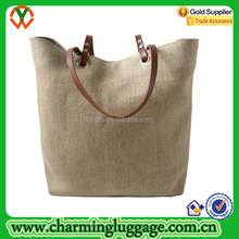 Charming Luggage Jute Linen Burlap Tote Beach Bag With Leather Handle