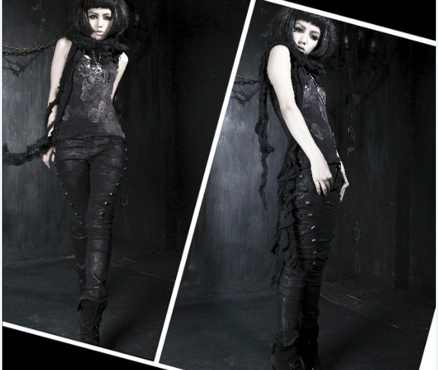 K-136 Unisex black long pant with dart veins from Punk Rave