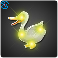 New 2016 products Duck shape clothes accessories metal pin led blinking animal badges