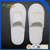 wholesale Cheap white EVA microfiber embroider Hotel Indoor Men Slippers