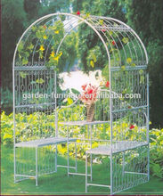 Anxi wrought iron handicrafts decorative painted white cheap china garden furniture,metal garden arbor,garden arch with bench