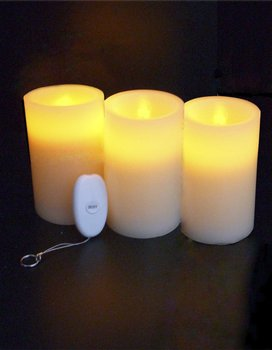 Set of 3 Remote Control LED Candle 3 x 6 Inch