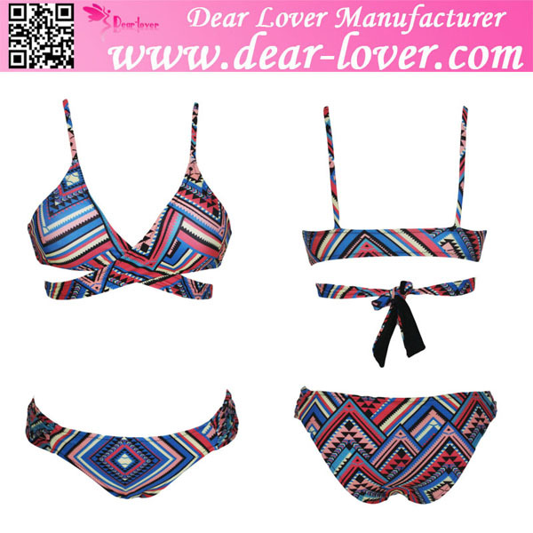 Antigua Print Strap Back Hot korean Teen Girl Bikini Photo