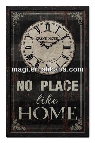 Newest black wall artistic wooden clock