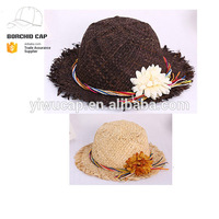 fashion ladies flower decration foldable wide brim straw beach hat
