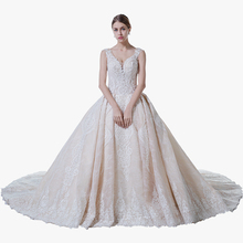 Vintage Wedding Dress Latest Design With Beading Princess Cathedral Train Satin Fabric Bridal Dresses Champagne