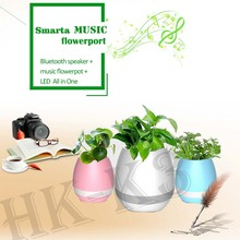 Creative Singing Plastic Flower Pot with LED Light,Smart Music Flower Pot with Bluetooth Speaker