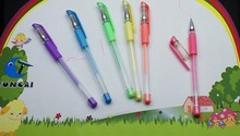 Hot selling plastic neon fluorescent gel ink pen with rubber grip