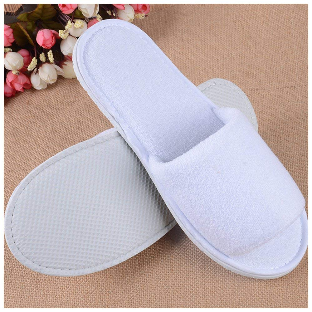 Disposable hotel amenities open toe white terry hotel slippers disposable terry slippers
