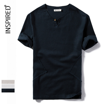 custom mens cotton linen printed t shirt wholesale