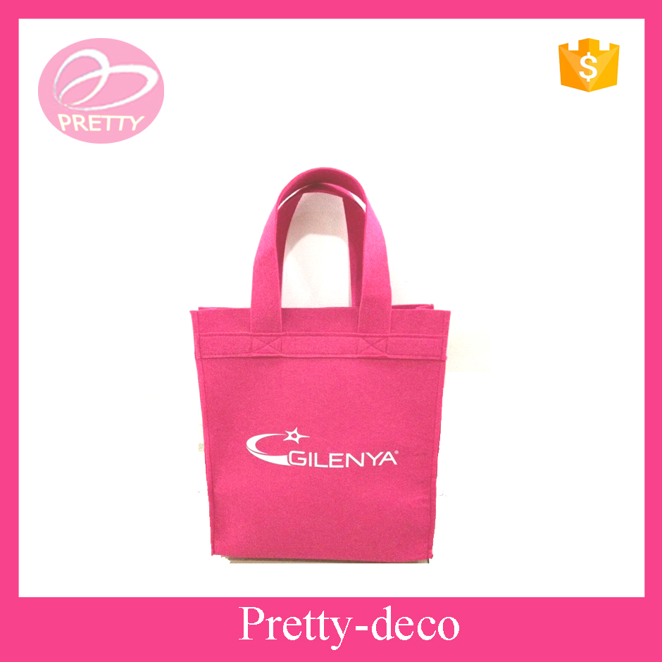 Top quality pink simple printed felt shopping bag