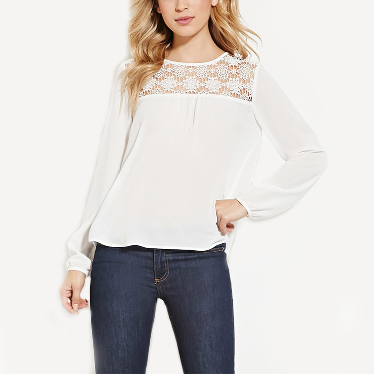 Real Sex Doll Price White Long Sleeve Round Neckline Floral Crochet Paneled Ladies Tops