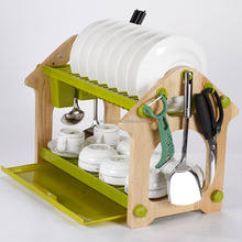 elegant compact wooden dish/plate stand rack