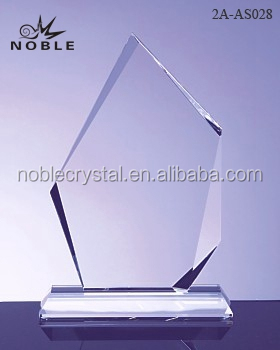 Blank Peak Shield K9 Crystal Trophy Award With Crystal Base.