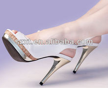 Newest metal stiletto high heels lady dress sandal quality sandal with wood platform
