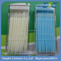 50PCS Plastic Dental Toothpicks In PP Box/Plastic Toothpicks With Brush