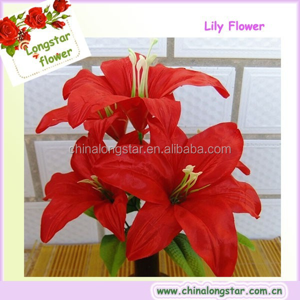 Artificial Red Lily Flower Used For Funeral Decoration