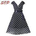 Lady fashion polka dot beautiful dress summer v neck elegant swing dress for woman