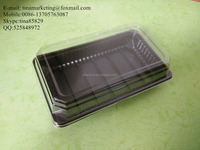Rectangular plastic food container and plastic cake packing tray with black base and clear lid