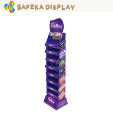 8 tier Riser Shelf Advertising Shelving Stack Stand Custom Food Floor Cardboard Display Rack for cadbury Chocolate