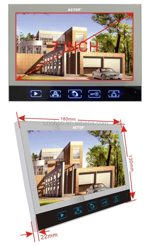 Shenzhen factory ACTOP wired video door intercom system for 5 apartments