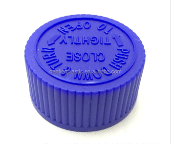 Blue Child Safety Bottle Cap with Push Down and Turn