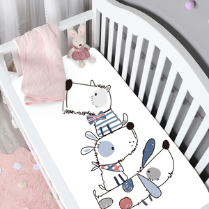 Cartoon dogs printing 100% cotton crib sheet set baby fitted sheet