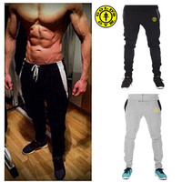 MOON BUNNY New 2016 Golds Gym Fitness Long Pants Men Outdoor Casual Sweatpants Baggy Jogger Trousers Fashion Fitted Bottoms Whol
