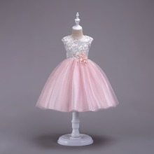 high quality kids party wear dresses lace sleeveless wedding dress girl cotton pearl sleeve dresses with jacket