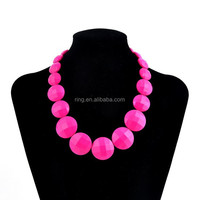 Fashion Iridescent Oblate Round Bubble Beaded Statement Necklace New Arrival