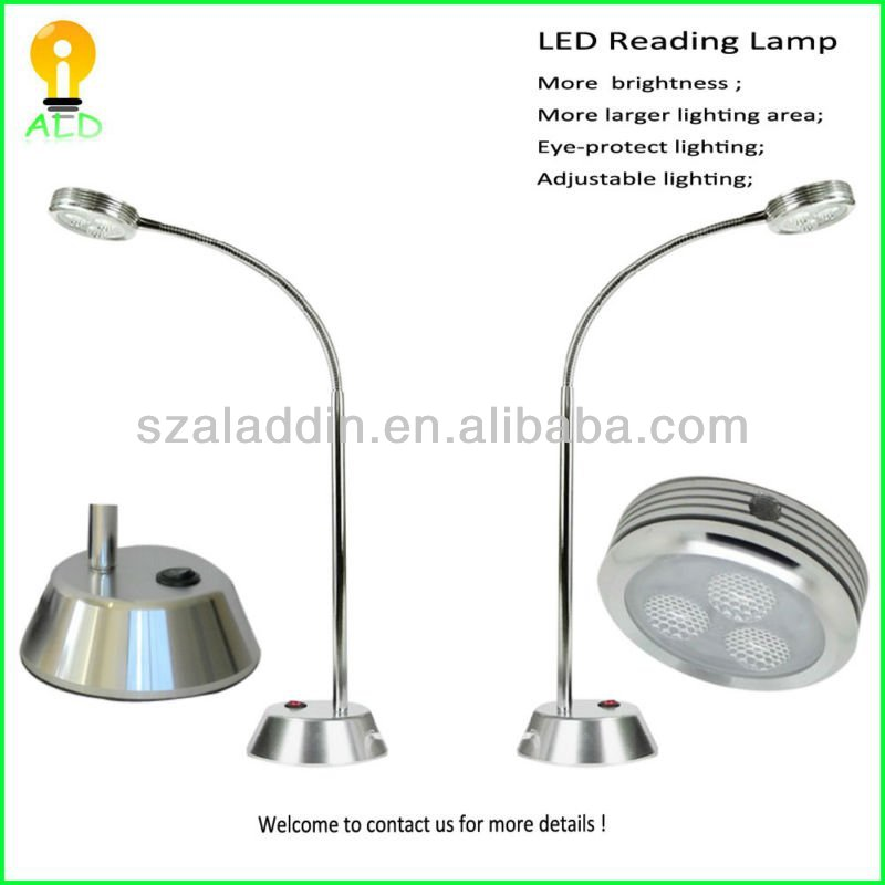 Full metal case 3W 220V flexible led bedside reading lamp
