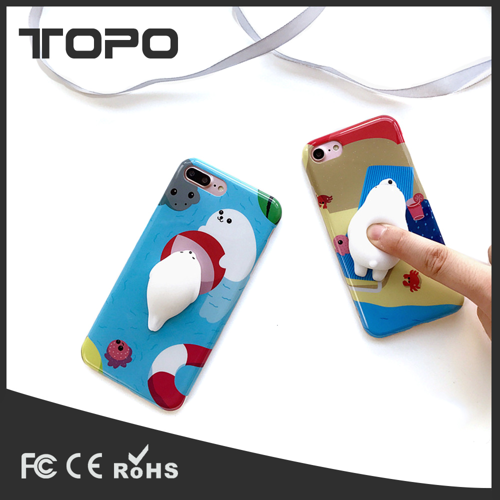 3D Finger pinch Squishy toys Soft TPU protective Mobile phone case cover for iPhone 6 7 plus
