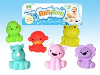 bath playing, soft toys, squirt water, toys animals.