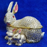 Trinket Box Animals Metal Mum And