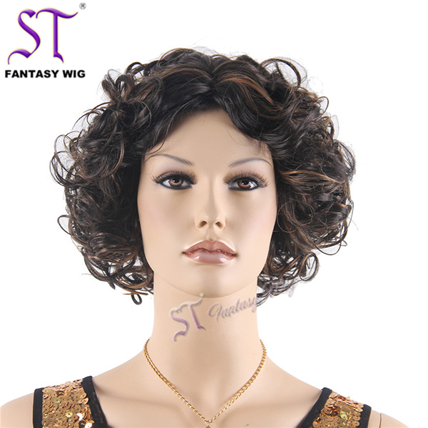 China supplier heat resistant wigs synthetic fiber wig , synthetic kinky curly afro hair wig