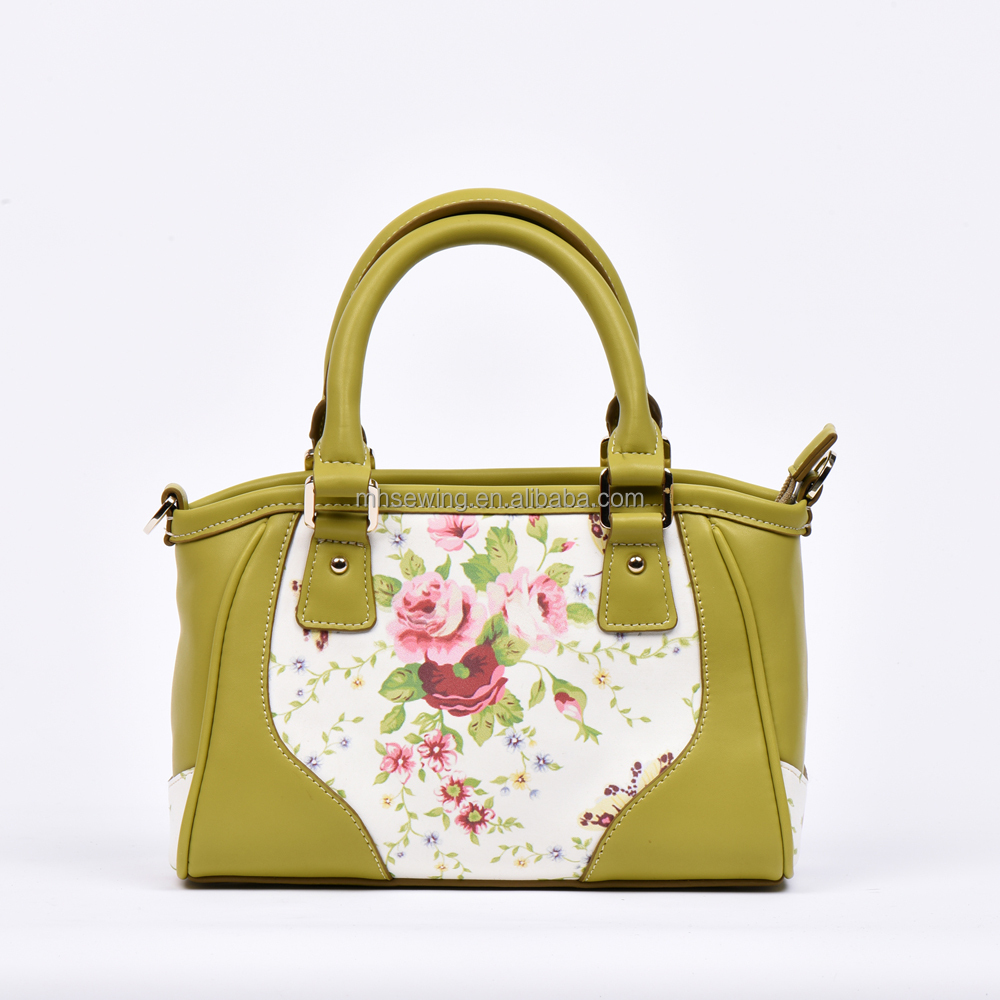 2017 New arrivals small PU tote bag shoulder bag with flower print ladies handbag