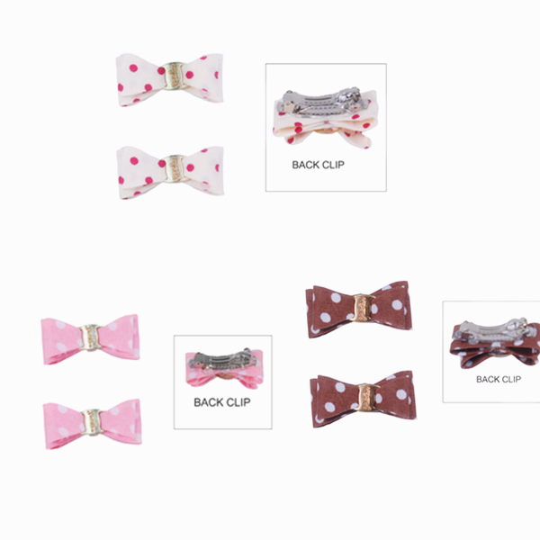 Small Dog Polka dots Barrette Bows Hair Pins Pet accessory