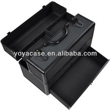 Black ABS Aluminum Cosmetic Makeup Train Case W/ Drawer Trays